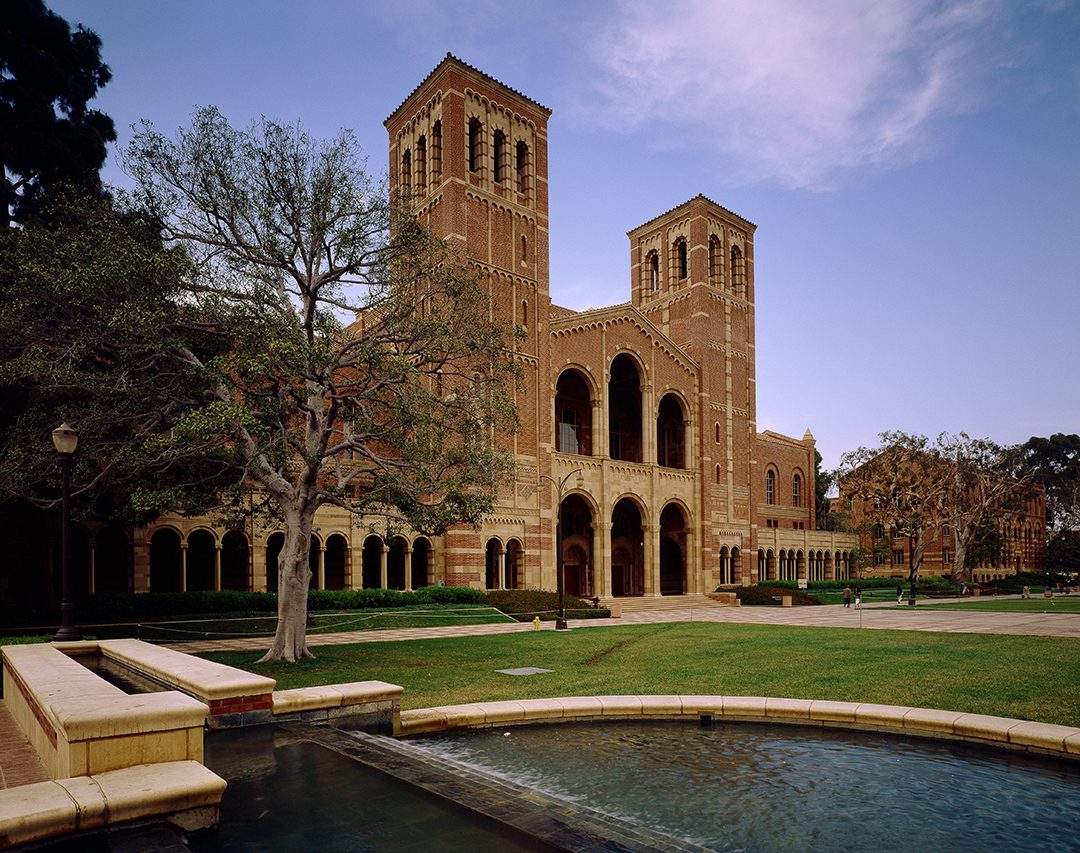 A view of Royce Hall from the southwest, across the Shapiro Fountain.