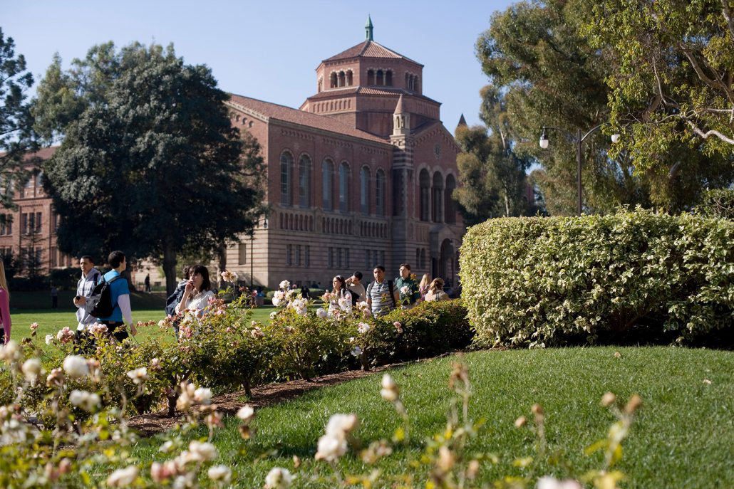 Students walking past Powell Library, with green lawns and blooming flowers in the foreground