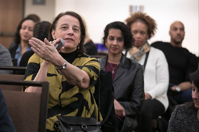 Pat Turner, senior dean of the UCLA College, asks a question at the 2018 Hollywood Diversity Report launch event.