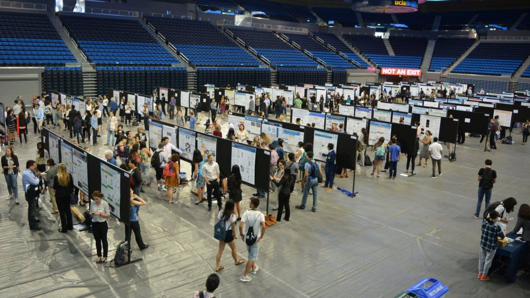 Pauley Pavilion fills with students on Research Poster Day