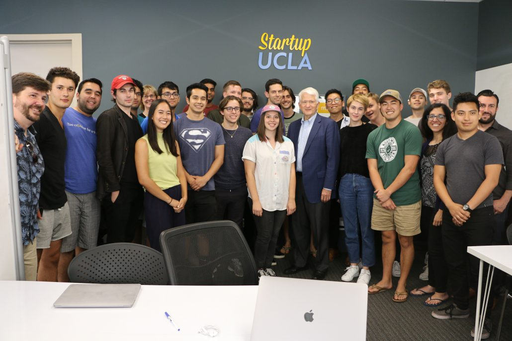 Chancellor Block pictured with students of the Startup UCLA Summer Accelerator