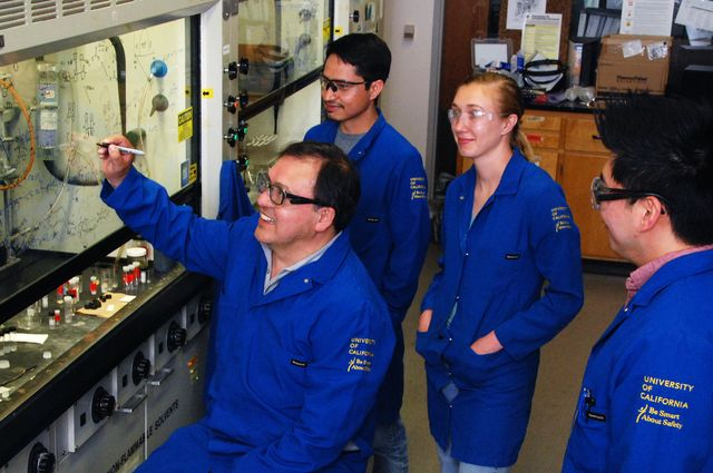 Researchers in a UCLA chemistry lab