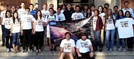 Photo of the UCLA team that built two NASA satellites to study space weather