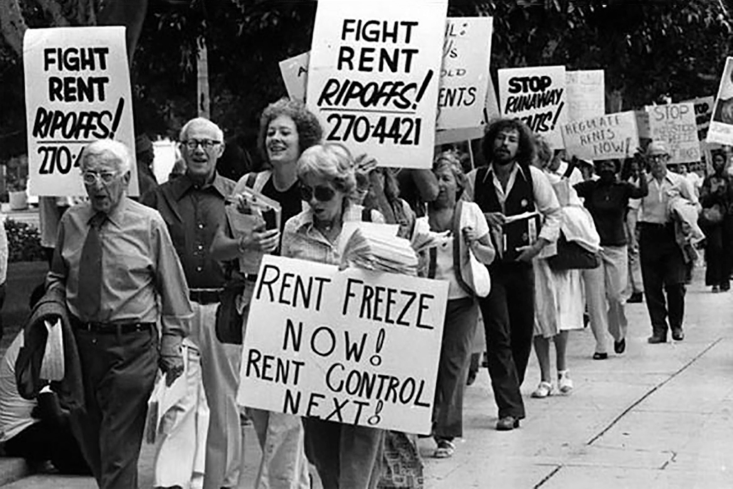 The new report documents decades of the city's rent control policy, including the introduction of a rent stabilization ordinance in the 1970s. Pictured: A 1978 rent control march on City Hall.