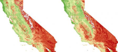 Diagram of Vegetation density in California in 2011 versus 2014.