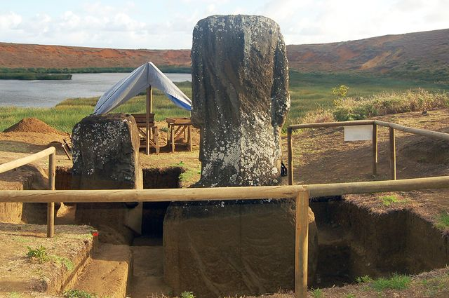 Excavation of Moai 156 (left) and 157. The visible difference in color and texture, and thus in preservation, is due to soil and depth coverage.
