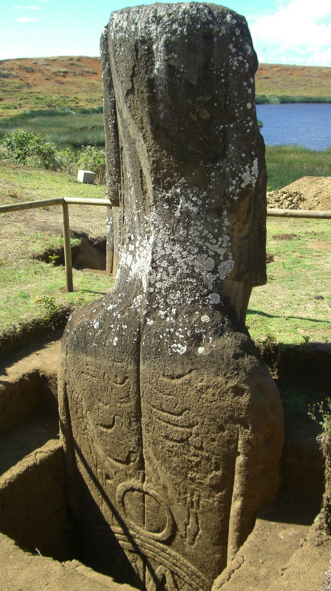 The intricate rock art on the back of Moai 157.