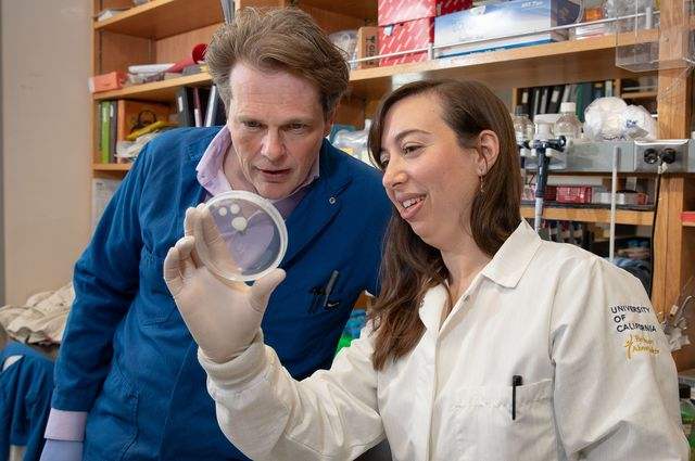 Photo of UCLA professor Kent Hill and graduate student Stephanie DeMarco