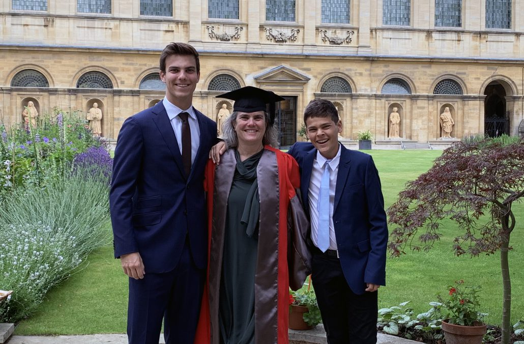 Andrea Ghez, Lauren B. Leichtman & Arthur E. Levine Chair in Astrophysics at UCLA, receiving an honorary doctorate from Oxford University on June 26, 2019. Ghez is with her sons.