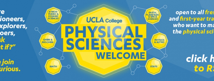 "Illustration featuring event title ""UCLA College Physical Sciences Welcome."""