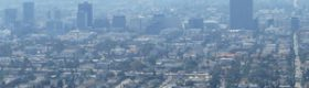 Photo of smoggy Los Angeles skyline