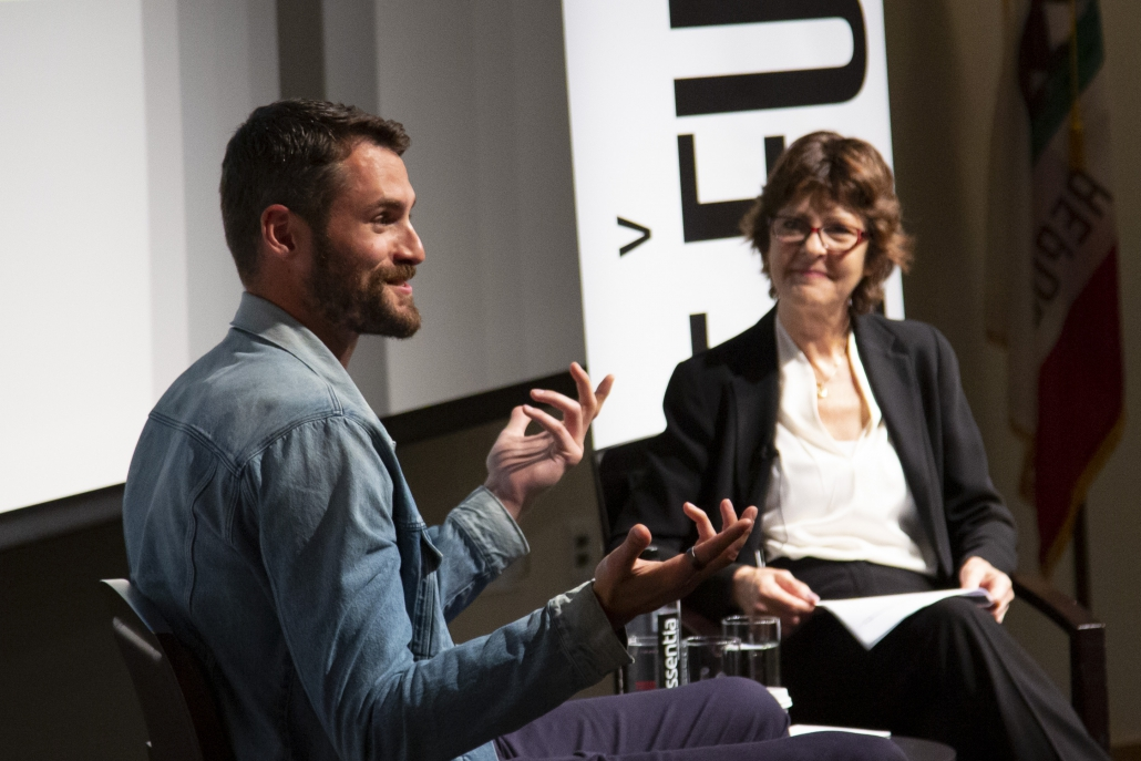 Photo of Cleveland Cavaliers basketball player Kevin Love and UCLA College's Clinical Psychology expert Michelle Craske.