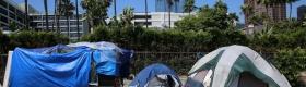 Photograph of homeless tent encampment.
