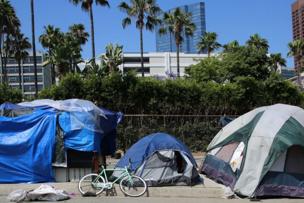 Photograph of homeless tent encampment.