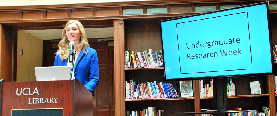 Photo of speaker at Undergraduate Research Week