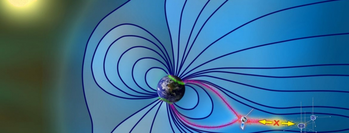 An illustration that shows the Earth's magnetosphere during a magnetic storm.
