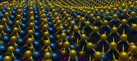 A photo of a 3D atomic structure information of a 2D material that was previously inaccessible due to the limitations of 2D images. A 2D image is shown beneath the 3D atomic coordinates of molybdenum in blue, sulfur in yellow and rhenium dopants in orange.