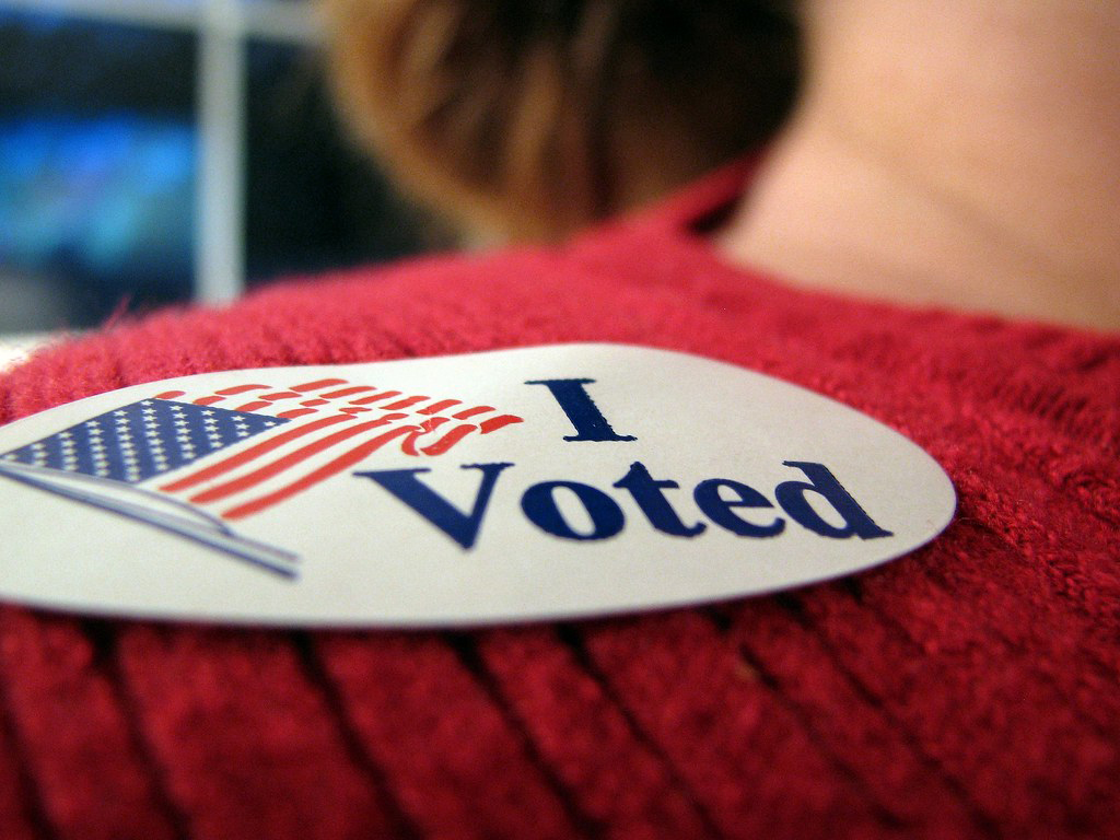 A photo of an I voted sticker.
