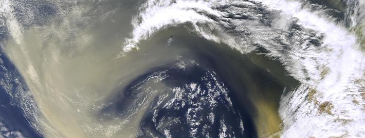 An image of dust over the Sahara Desert.