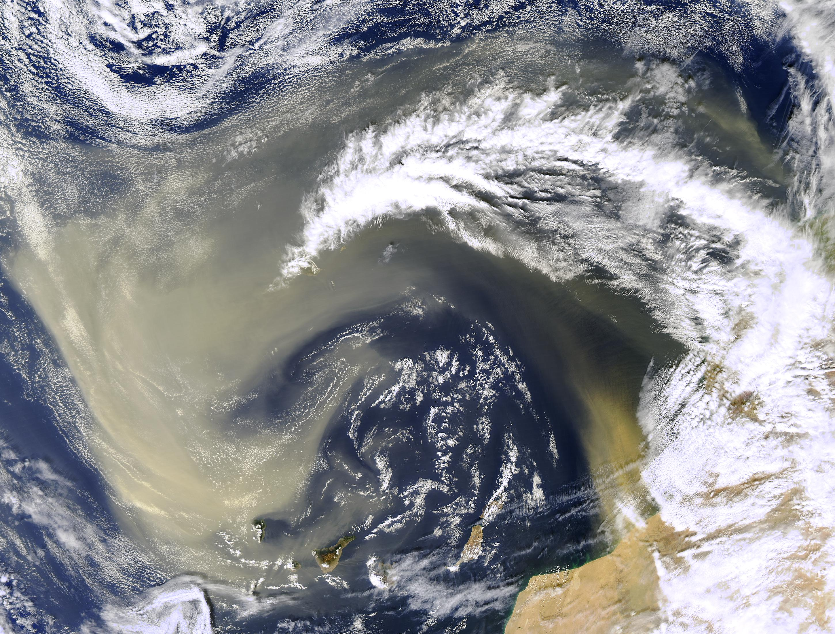 An image of dust over the Sahara Desert.