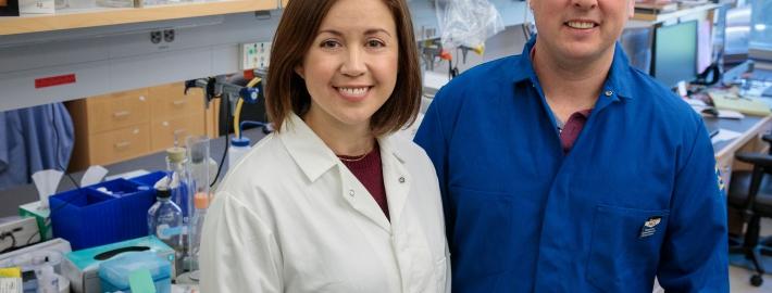 A photo of Stephanie Correa and Edward van Veen in Correa's UCLA laboratory