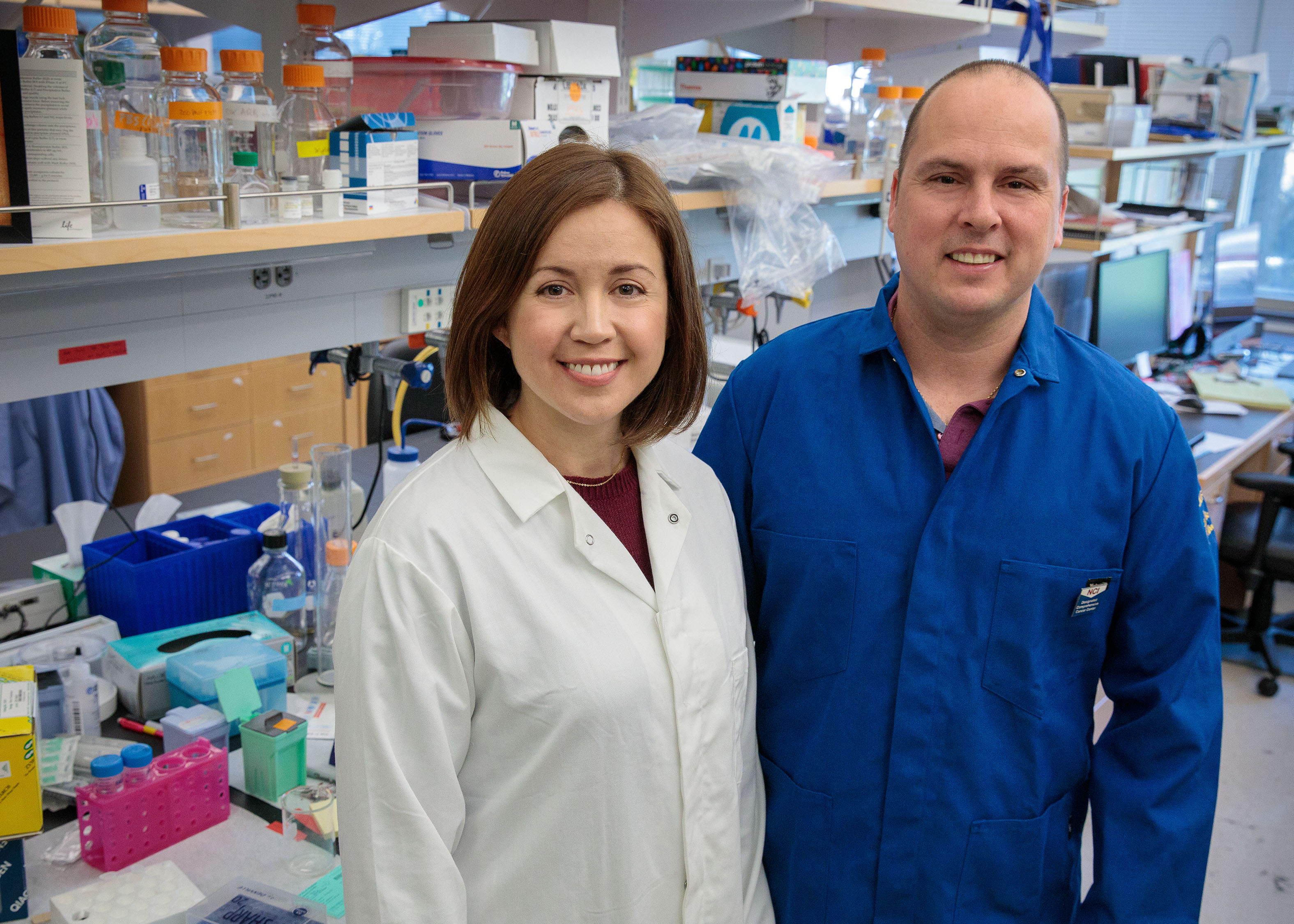 A photo of Stephanie Correa and Edward van Veen in Correa's UCLA laboratory