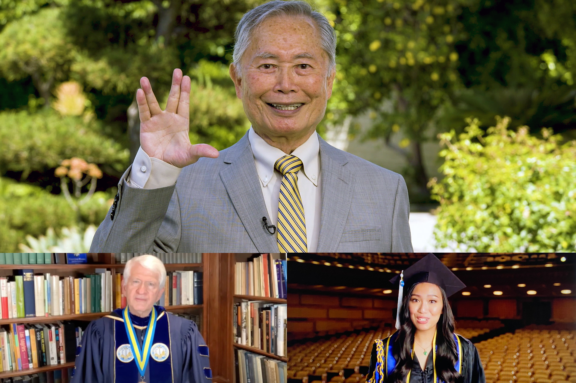 A photo montage of 2020 Virtual Celebration speakers. Top: George Takei, featured speaker during the UCLA College's 2020 virtual celebration. Lower left: UCLA Chancellor Gene Block. Lower right: student speaker Kristie-Valerie Phung Hoang.