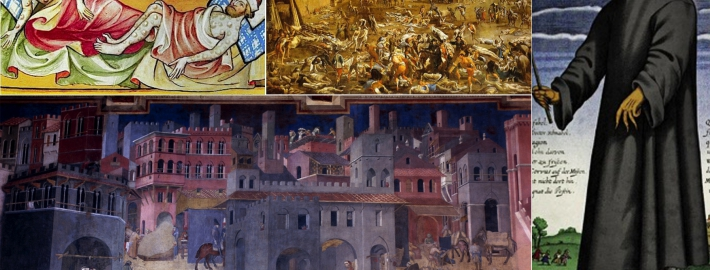 Image on the bottom left: A painting by Ambrogio Lorenzetti is an example of art in Europe before the bubonic plague. Other images show how art changed after the plague.