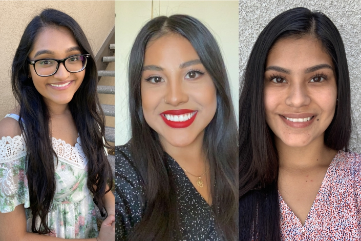 A photo of seniors who are part of the first cohort of labor studies graduates. From left: Riya Patel, Mayte Ipatzi and Michelle Cervantes.