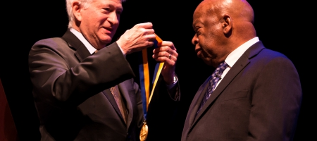 A photo of Chancellor Gene Block bestowing the UCLA Medal on U.S. Rep. and civil rights icon John Lewis.