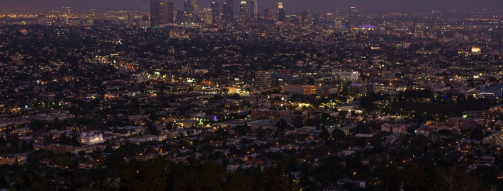 A photo of a panorama of Los Angeles at dusk.