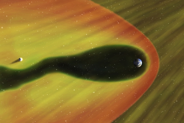 An image of the Earth's magnetosphere.
