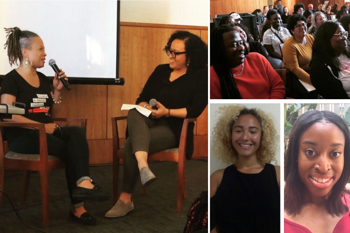 Left image: The inaugural public event hosted by the Black Feminism Initiative, held in February, featured a conversation between local reproductive justice advocate Kimberly Durdin, left, and UCLA graduate student Ariel Hart. Top right image: Audience at the event. Bottom right from left: Kali Tambree and Jaimie Crumley, student co-coordinators of the Black Feminism Initiative.