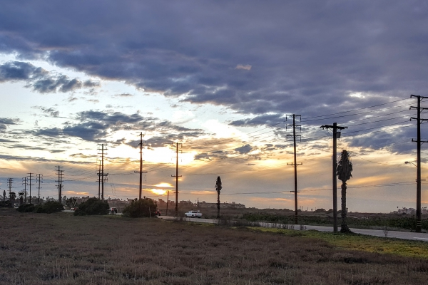 A photo of powerlines in Southern California.