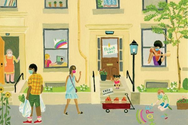 An illustration of a friendly neighborhood.