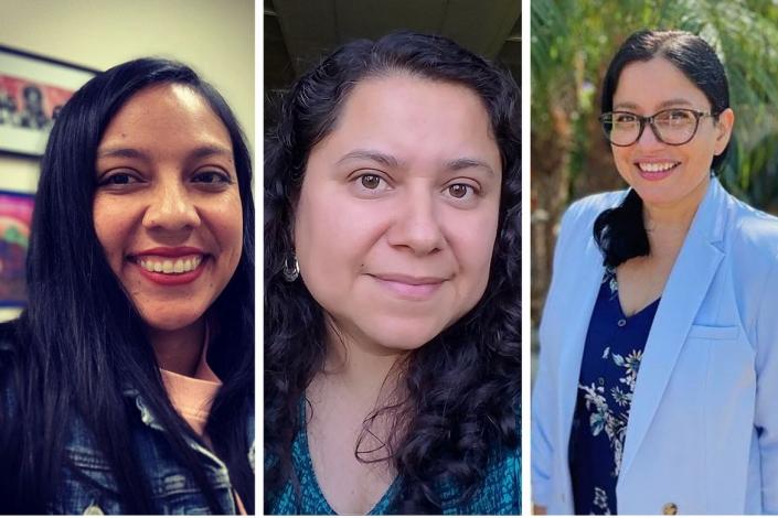 A photo of professors Floridalma Boj Lopez, Leisy Abrego and Karina Alma..