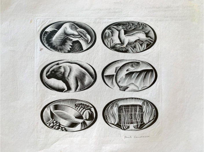 A photo of a Page of works by Landacre.