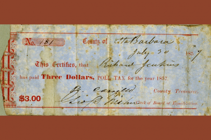 A photo of a California poll tax receipt from 1857