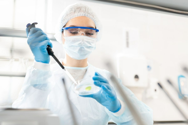 A photo of a researcher in the lab.