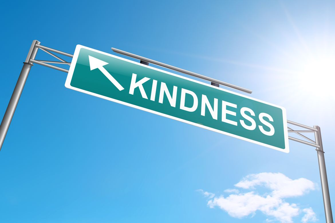 "A photo of a street sign named ""Kindness."""