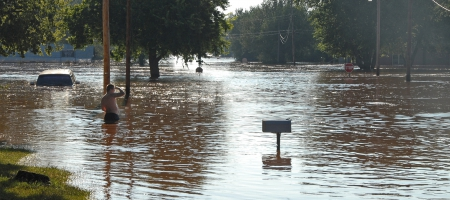 A photo of flood waters caused by Tropical Storm Erin in Kingfisher, Oklahoma, in August 2007.