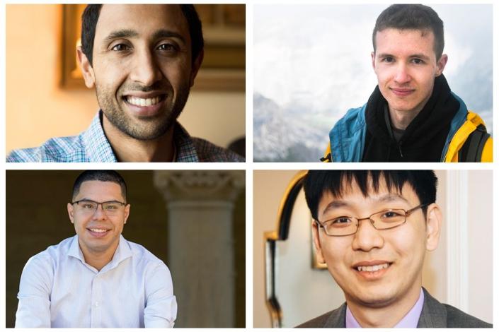 A photo of the Sloan winners: Ravi Netravali, Pavel Galashin, Kai-Wei Chang and Harold Pimentel.