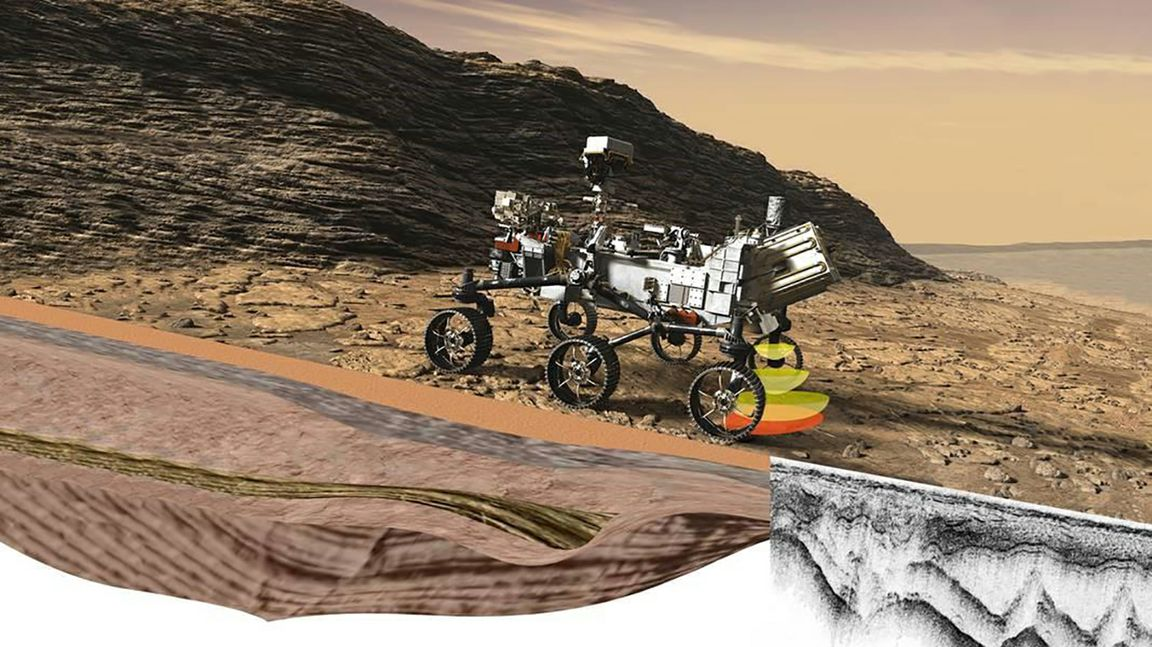 A rendering of the NASA Perseverance rover as it would appear on Mars.