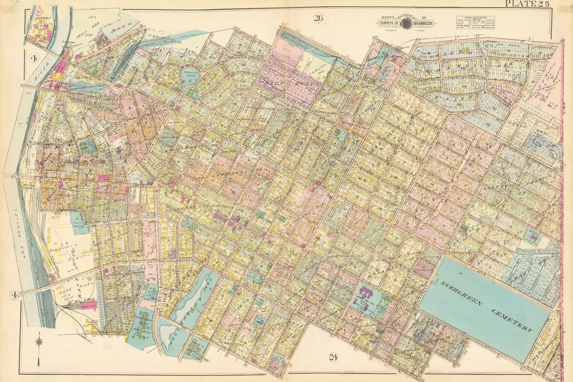 A photo of Baist's Real Estate Surveys' map of Los Angeles in 1921.