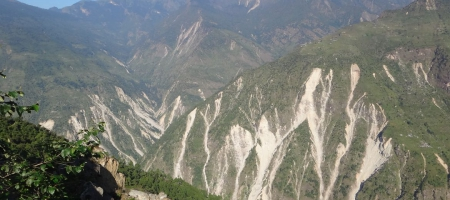 A photo of Himalaya Mountains in Nepal after landslides caused by the 2015 Gorkha earthquake.