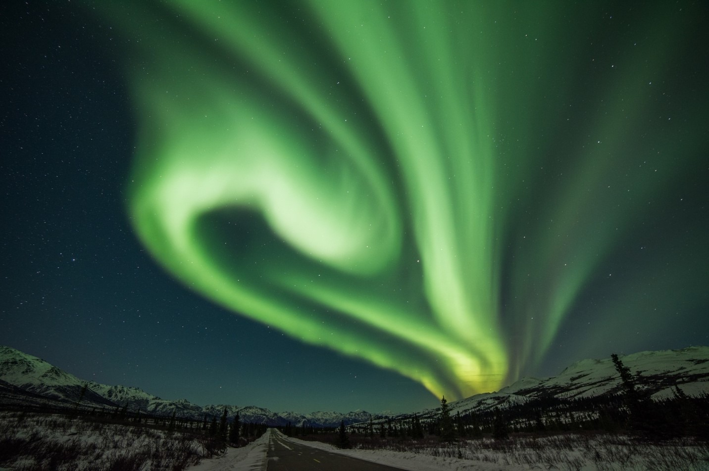 A photo of Aurora borealis in Alaska