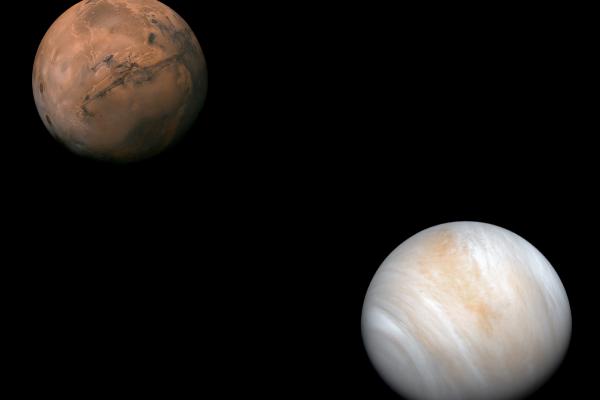 A photo of Mars and Venus.
