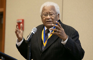 The Rev. James Lawson Jr. gives a speech after being presented with the UCLA Medal.