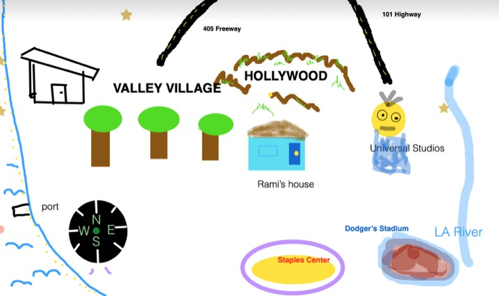 Examples of collaborative maps the students drew using Zoom's whiteboard feature.