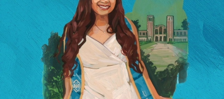 """Illustration of Maripau Paz, a first-generation college student, says AAP creates a welcoming environment. """"During my freshman year, I was so scared,"""" she says. """"But AAP made everything easy to understand, and soon I was able to manage the coursework on my own."""""""